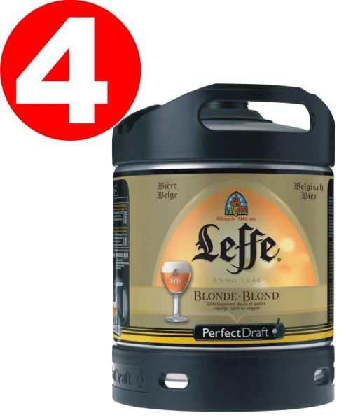 4x bionda Leffe dal Belgio Perfect Draft 6 litri barile 6,6% vol