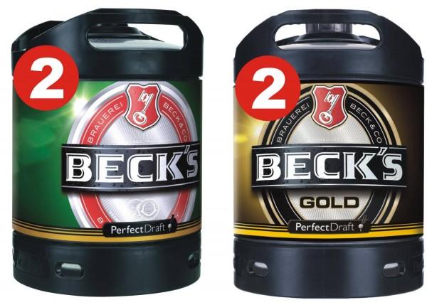 2 x Becks Pils + 2 x Becks Gold Perfect Draft 6 litri barile 4.9% vol.