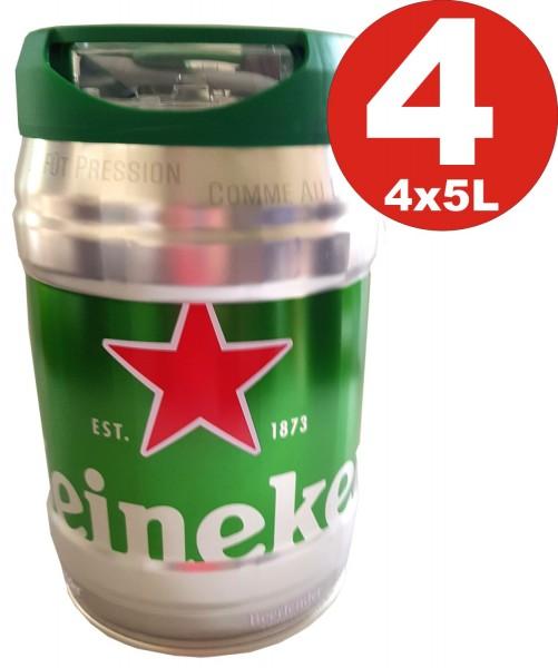 4 x Heineken party keg 5L draft keg 5% vol.