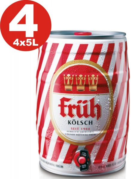 4 x barile di partito Frueh Koelsch 5 L 4,8% vol.