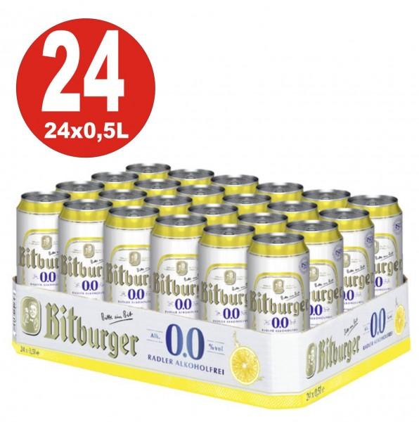 24 x lattine 0,5 L Bitburger Radler senza ALCOOL BBD RIDOTTO MHD 19.3.20