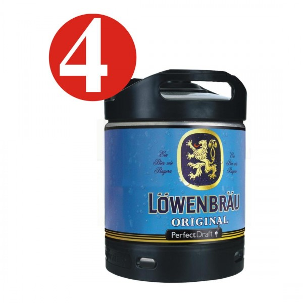 4 x Loewenbraeu Original Perfect Draft barile da 6 litri 5,2% vol