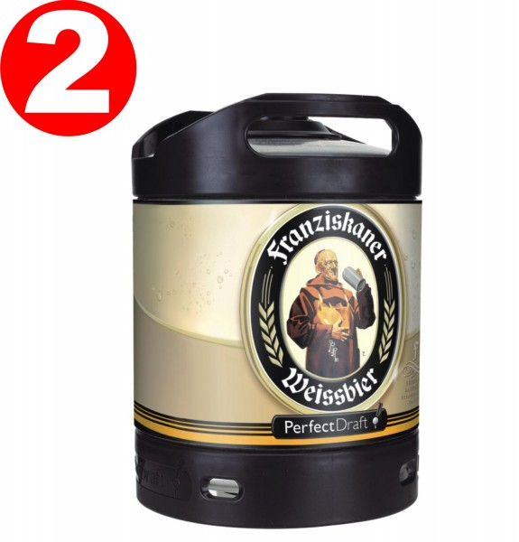 2 x Franziskaner Weissbier Perfect Draft barile da 6 litri 5,0% vol.