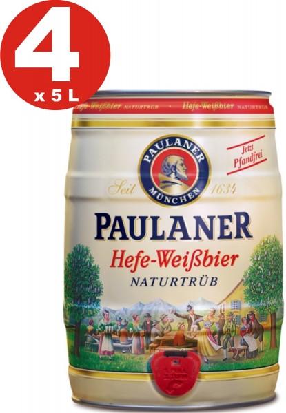 4 x Paulaner lievito bianco birra natura nuvoloso 5,5% vol 5 litro barilotto di partito