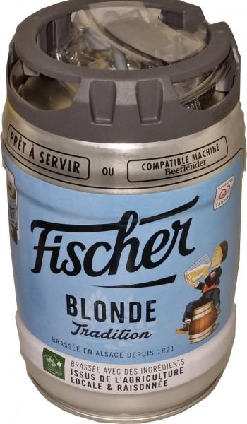 Birra bionda Fischer 5 litri 6,0% vol. con rubinetto Fusto per feste MONOUSO
