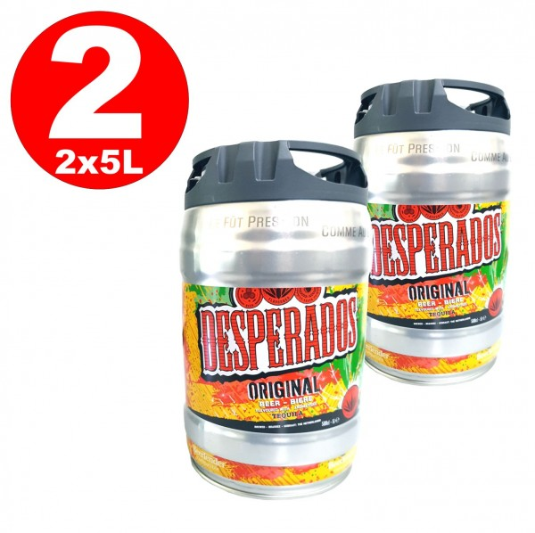 2 x Desperados beer con tequila party keg 5 litri di keg incl. Tap 5.9% vol.