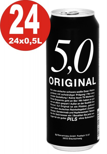24 lattine da 0,5 L da 5,0 Original Pils 5% Vol birra in lattina usa e getta