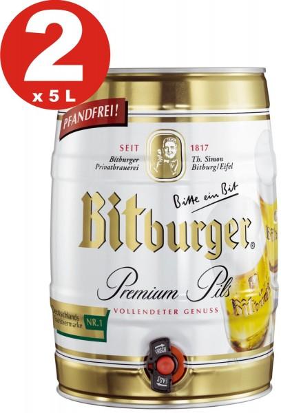 2 x Bitburger Premium Pils 5 litro party keg 4,8% vol