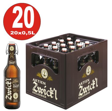20 x Aktien Zwickl Kellerbier 0,5 litri scatola originale da 5,3% vol