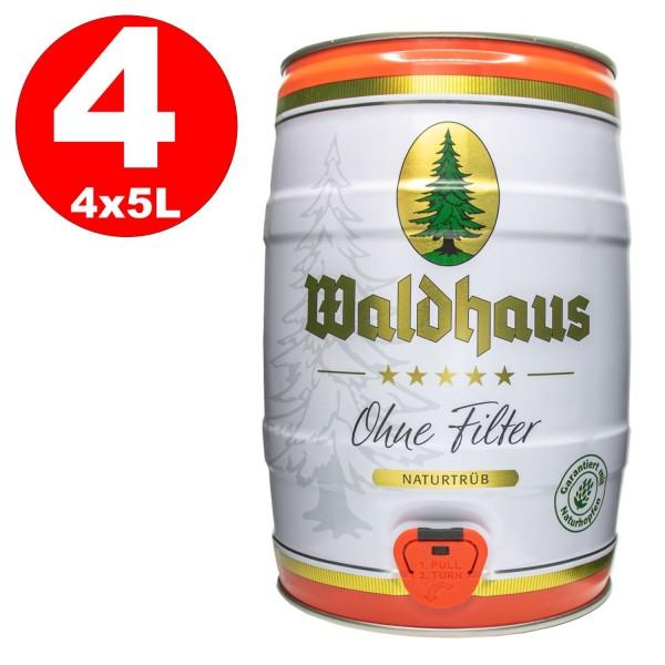4 x Waldhaus sin Filter Naturtrüb 5 L party keg 5,6% vol. La cerveza de los hombres
