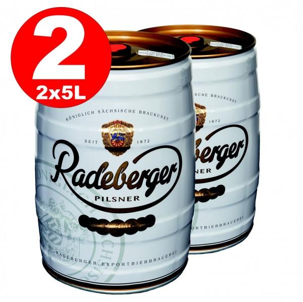 2 x Radeberger Pilsener 5 litro party keg 4,8% vol -deposito usa e getta
