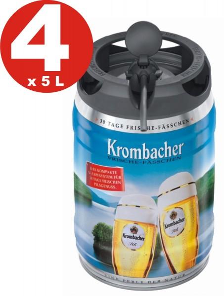 4 x fusti freschi Krombacher Pils, fusti da 5 litri 4,8% vol