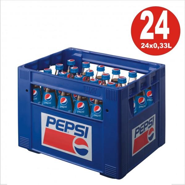 24 x bottiglia di vetro Pepsi-Cola 0.33L in scatola originale