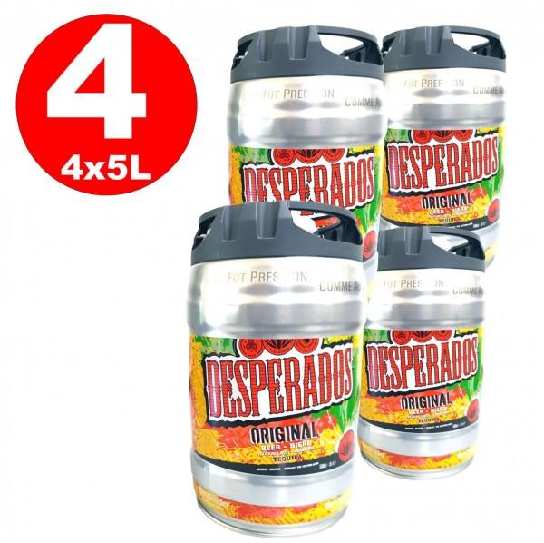 4 x Desperados beer con tequila party keg 5 litri barile incluso Tap 5,9% vol.
