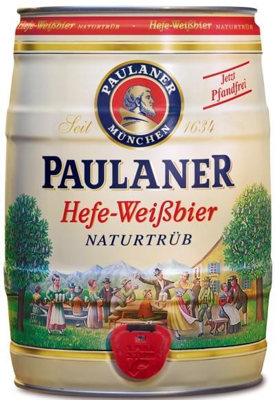 Paulaner lievito bianco birra natura nuvoloso 5,5% vol 5 litro barilotto di partito