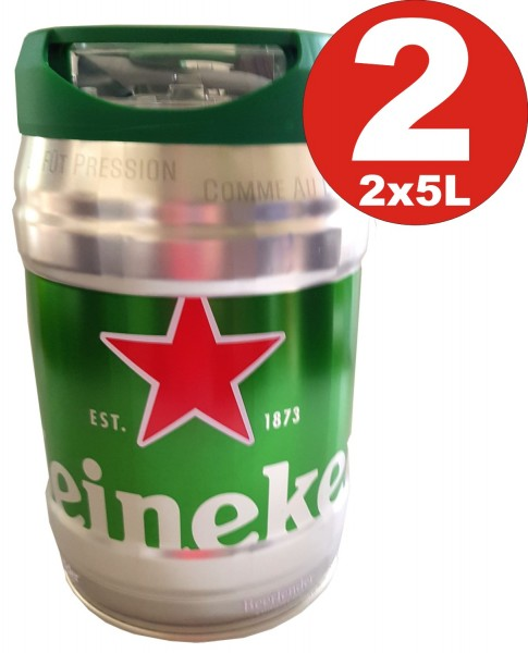 2 x Heineken party keg 5L draft keg 5% vol.
