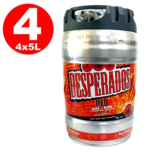 4 x Birra desperados rossa con tequila, guaranà, cachaca, barile di festa, barile da 5 litri, incluso 5,9% vol.