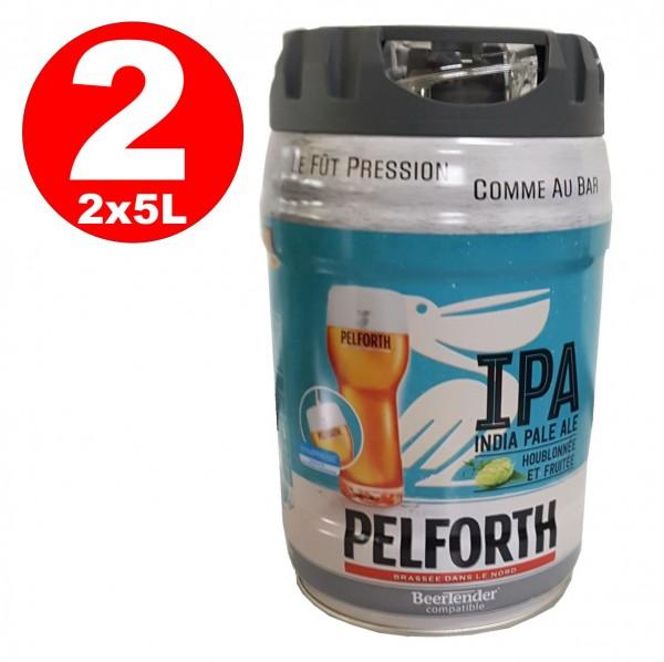 2 x Pelforth IPA India Pale Ale Luppolo e frutta 5 litri barilotto 5.9% vol. monouso