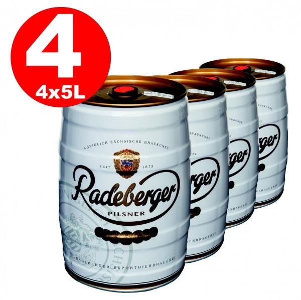 4 x Radeberger Pilsener 5 litro party keg 4,8% vol - deposito usa e getta
